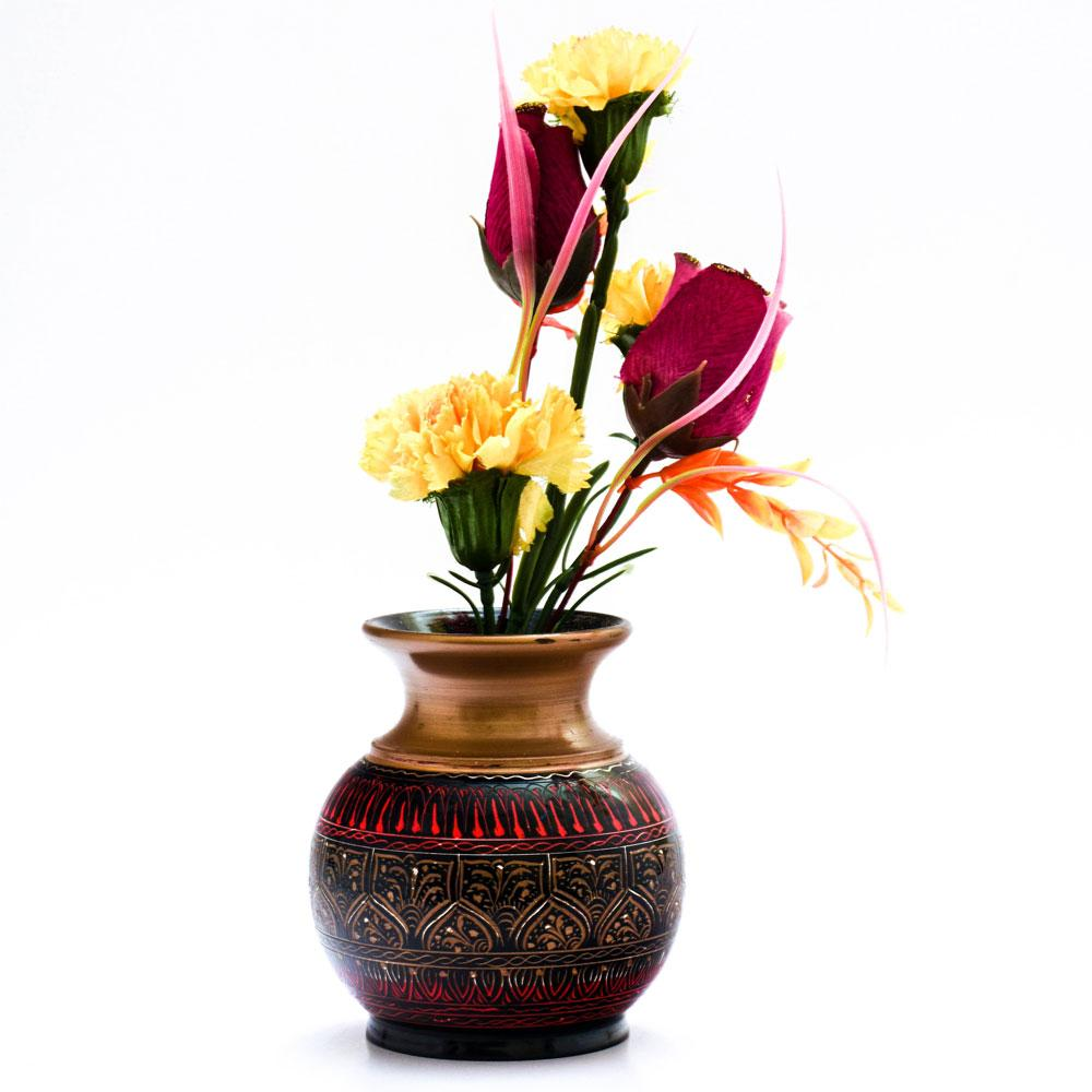 Handcrafted Lacquer Art Wooden Decorative Flower Pot Home Decor SAK D4