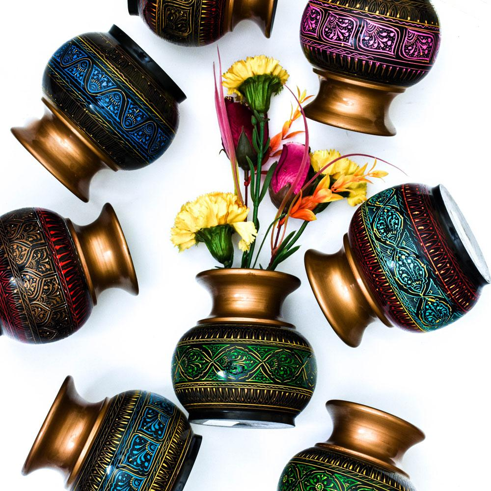 Handcrafted Lacquer Art Wooden Decorative Flower Pot Home Decor SAK