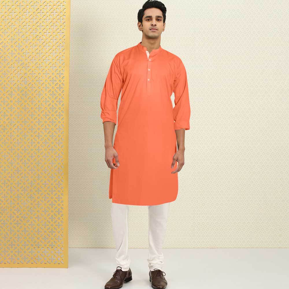 Polo Republica Men's Isfahan Stitched Kurta Men's Kurta RDS Dark Peach S
