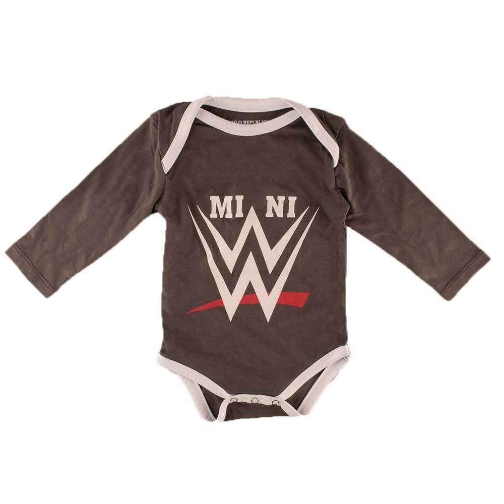 Polo Republica Mini WWE Long Sleeve Baby Romper Babywear Polo Republica Graphite White 0-3 Months