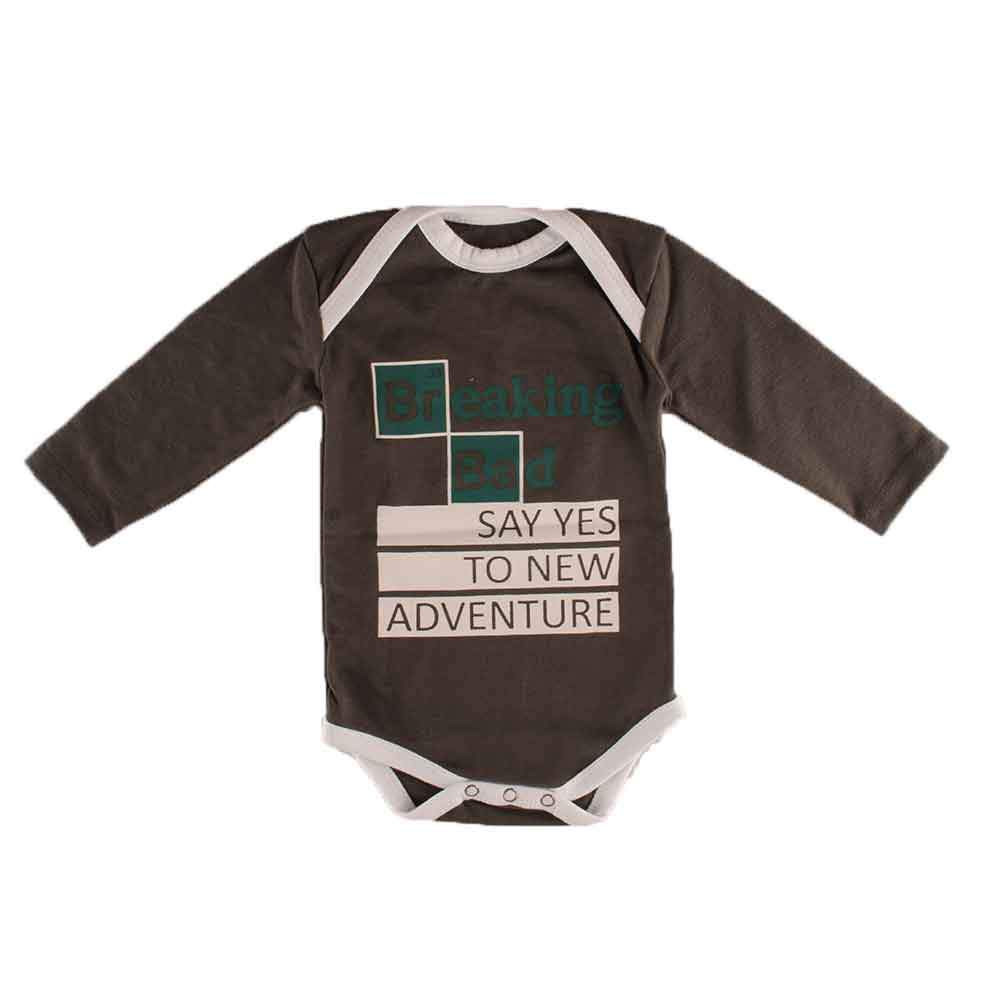 Polo Republica Breaking Bad Long Sleeve Pique Baby Romper Babywear Polo Republica Graphite White 0-3 Months