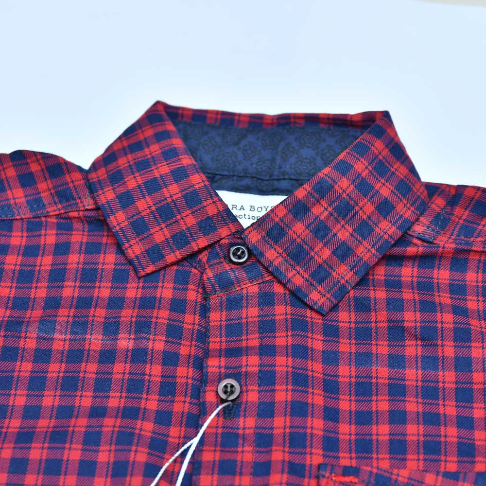 SRT Boy's Buffalo Checkered Short Sleeve Casual Shirt Kid's Casual Shirt SRT