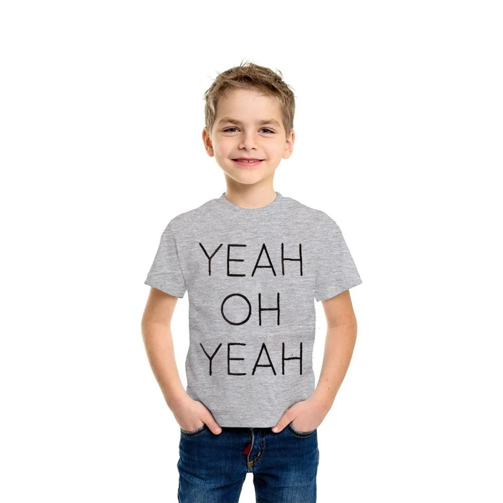 Kid's Embroidered Tee Shirt Oh Yeah Boy's Tee Shirt SRK Heather Grey 12-18 Month
