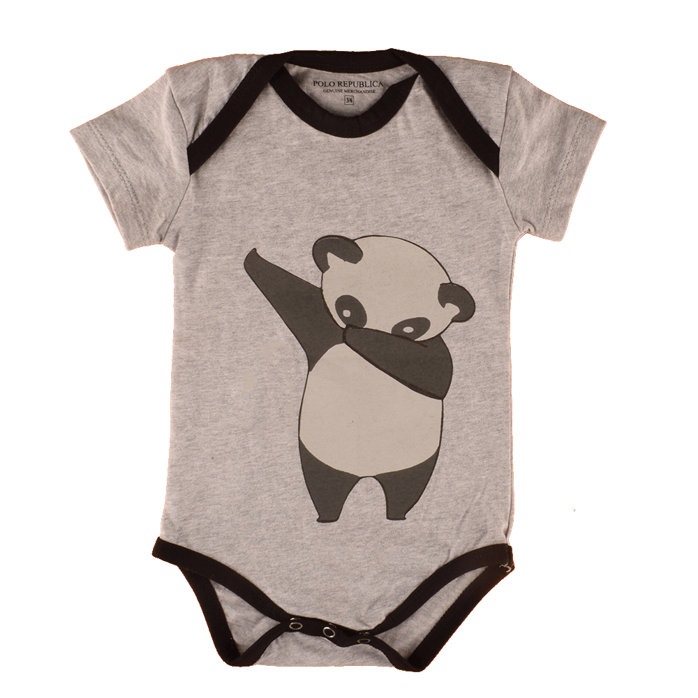 Polo Republica Kid's Dabbing Panda Short Sleeve Romper Babywear Polo Republica Heather Grey Black 0-3 Months