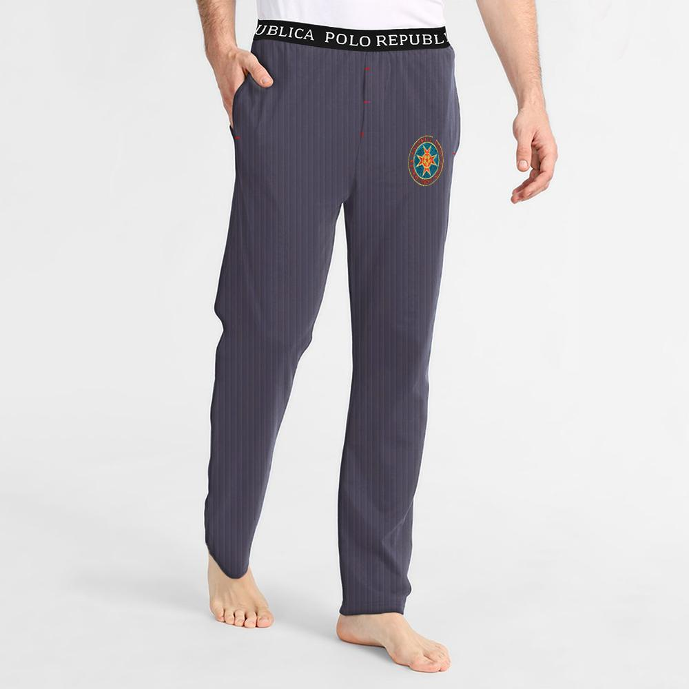 Polo Republica Football Logo Embro Lounge Pants Men's Sleep Wear Polo Republica Jeans Marl S