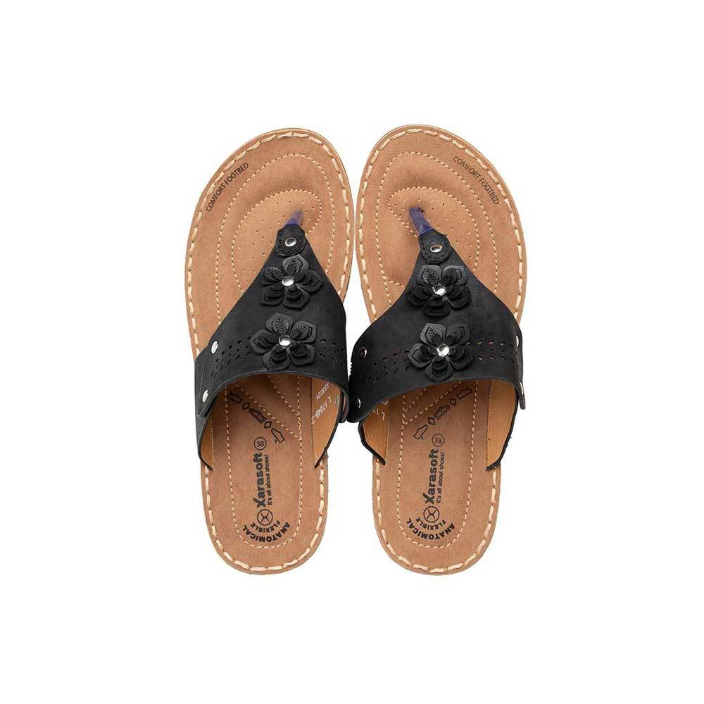 Xarasoft Women's L-17049 Slippers Women's Shoes Xarasoft Black EUR 36