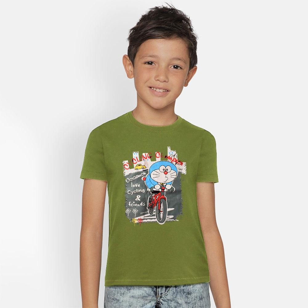 Kid's Classy Printed Tee Shirt Cycling Champion Boy's Tee Shirt SRK Olive Green 9-12 Months