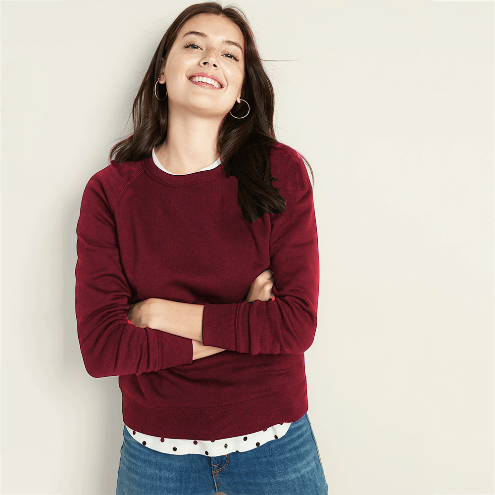 LG Cut Label Women's Appealing Fleece Sweat Shirt Women's Sweat Shirt Fiza Burgundy S