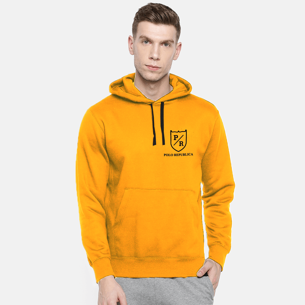 Polo Republica Men's Solid Fleece Pullover Hoodie Men's Pullover Hoodie ASE Mustard S