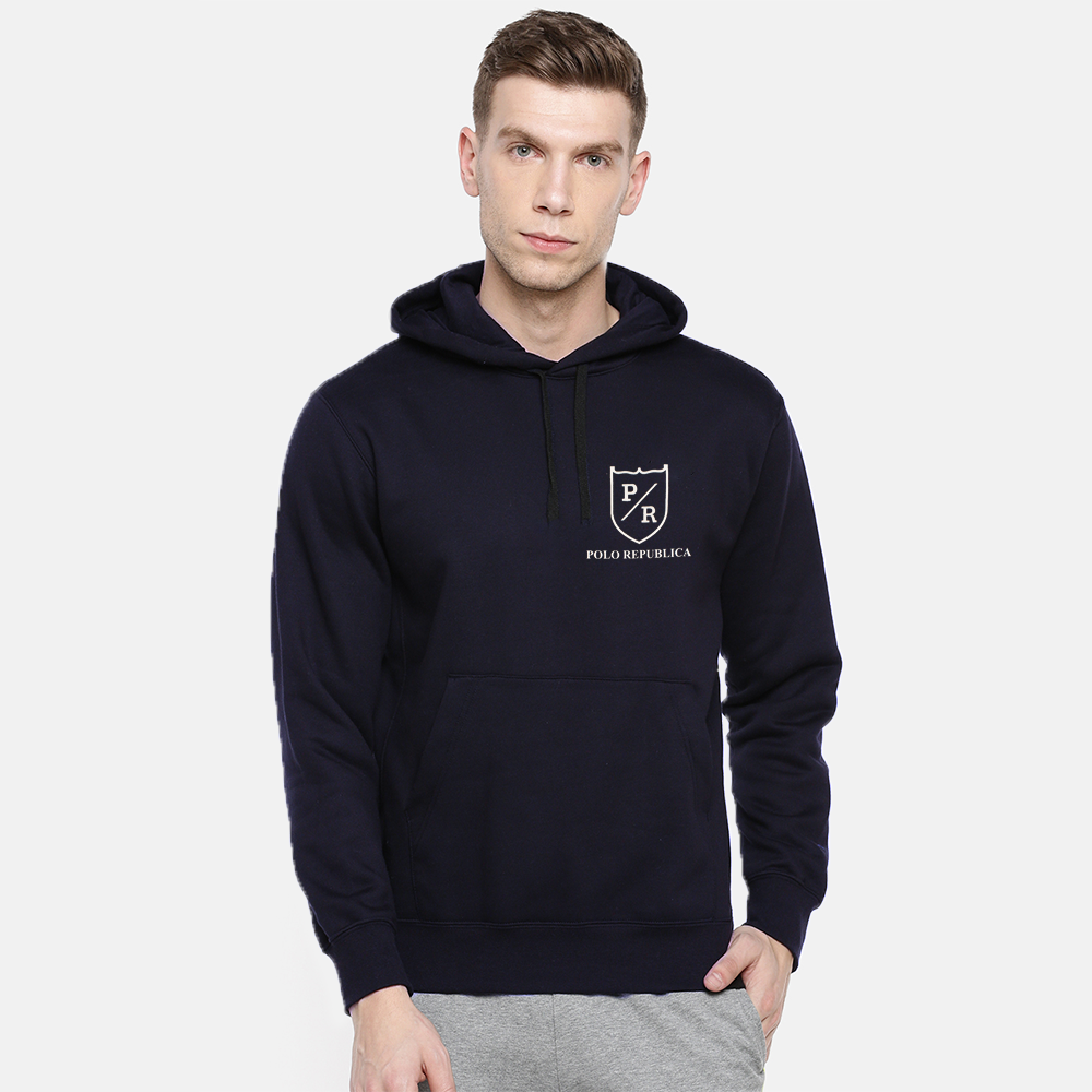 Polo Republica Men's Solid Fleece Pullover Hoodie Men's Pullover Hoodie ASE Navy S