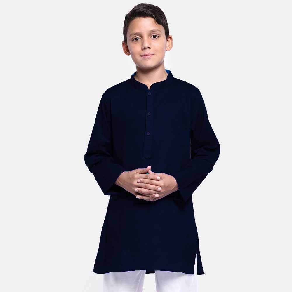 Boy's Knit Pique Kurta Boy's Kurta NMA Navy 4 Years