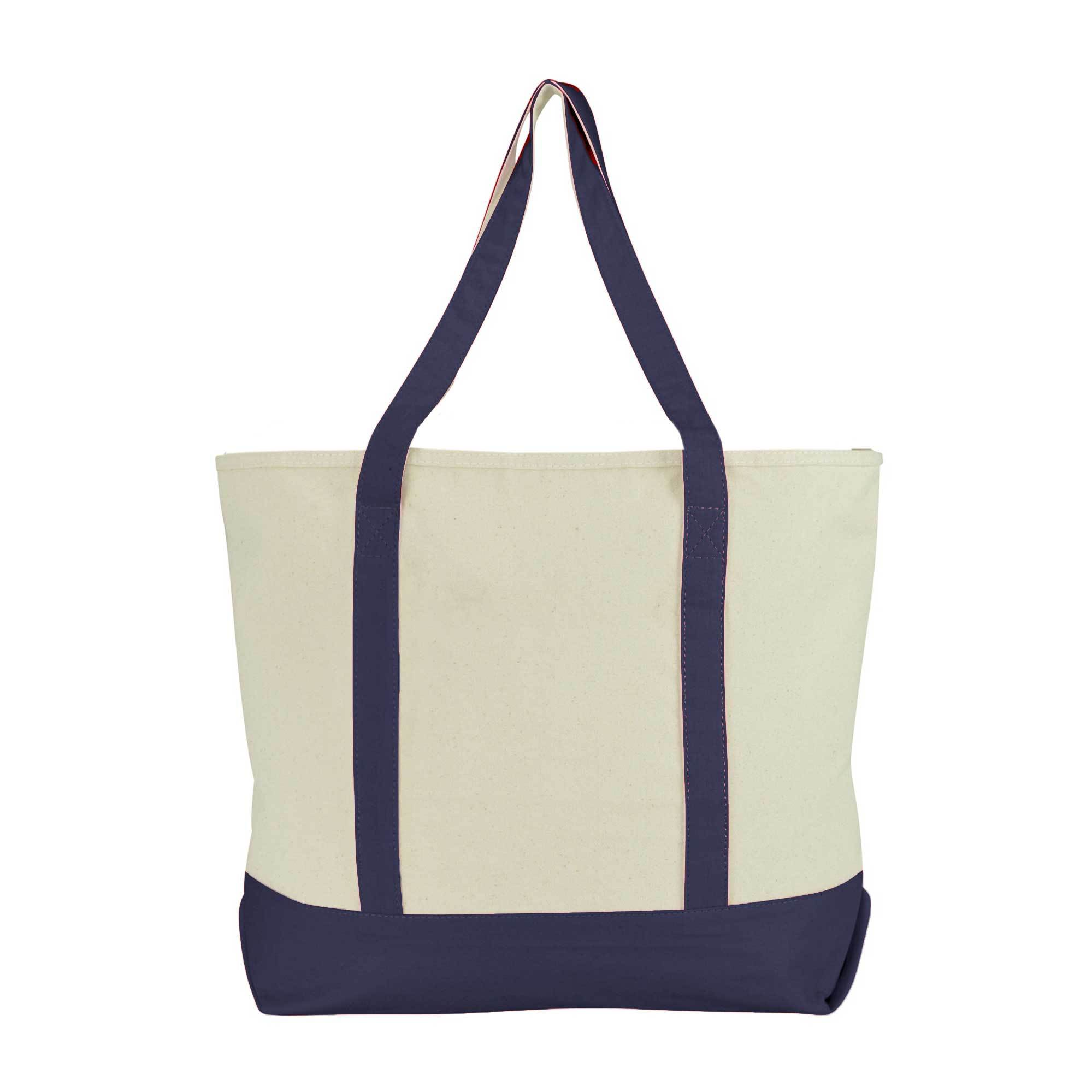 MB Premium Quality Canvas Storage Tote Bag Hand Bag MB Traders Cream Navy