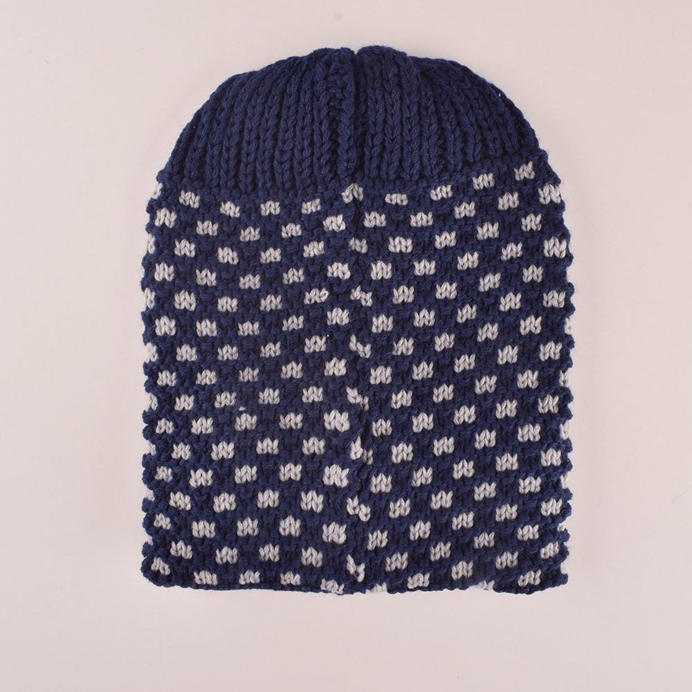 MB Sleek Doted Style Winter Knitted Beanie Cap Unisex Beanie MB Traders Navy