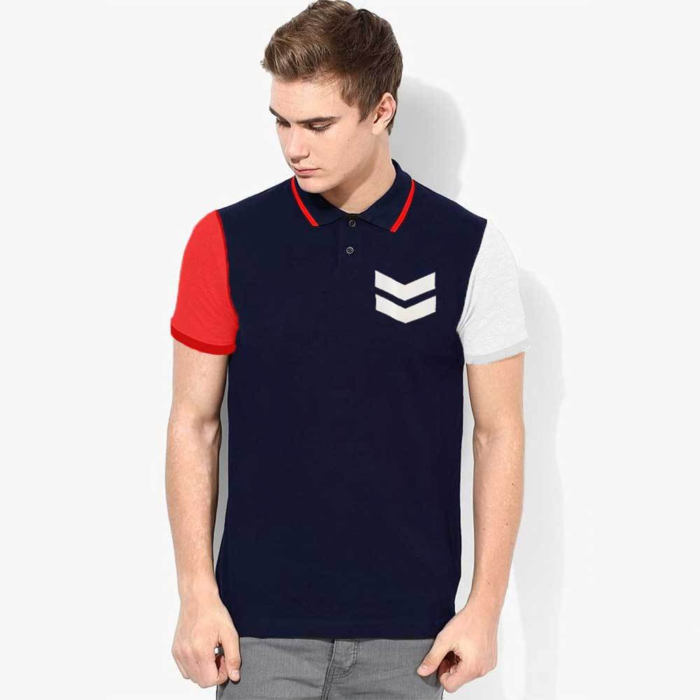 Poler Bremerhaven Contrast Sleeve Polo Shirt Boy's Polo Shirt IBT Navy Red S
