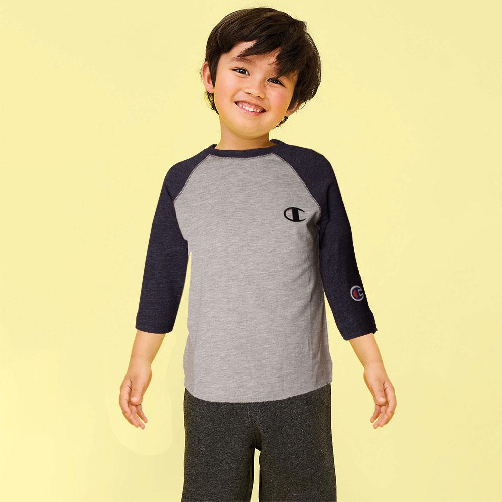 Kid's Champion Long Sleeves Tee Shirt Boy's Tee Shirt Fiza Heather Grey Navy 6 Months