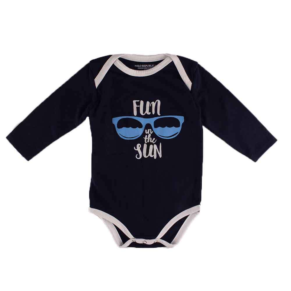 Polo Republica Fun Under The Sun Long Sleeve Pique Baby Romper Babywear Polo Republica Navy White 0-3 Months