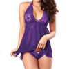 Erotic Robe Sheer Babydoll See Through Lace Nighty Women's lingerie Sunshine China Purple S