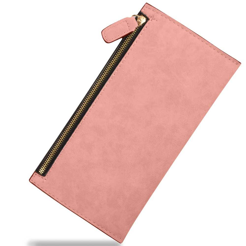 Women's Sturdy PU Leather Zipper Clutch Bag Hand Bag Sunshine China Pink
