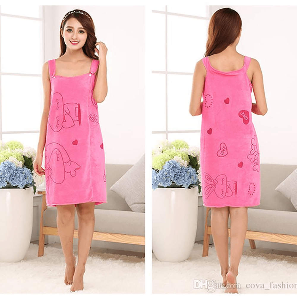 Women's Wearable Super Soft Bath Skirt Towel Sunshine China Pink