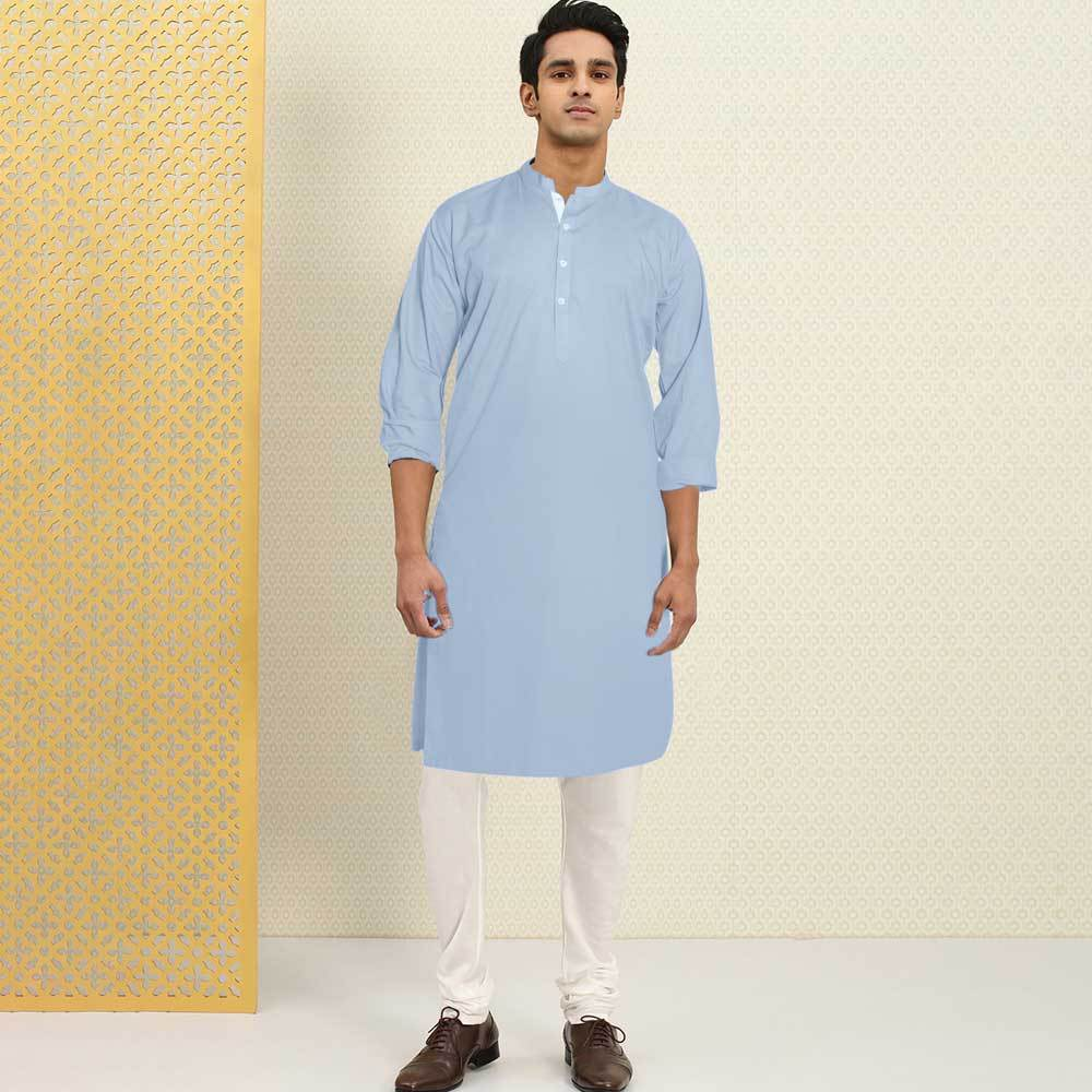 Polo Republica Men's Isfahan Stitched Kurta Men's Kurta RDS Powder Blue S