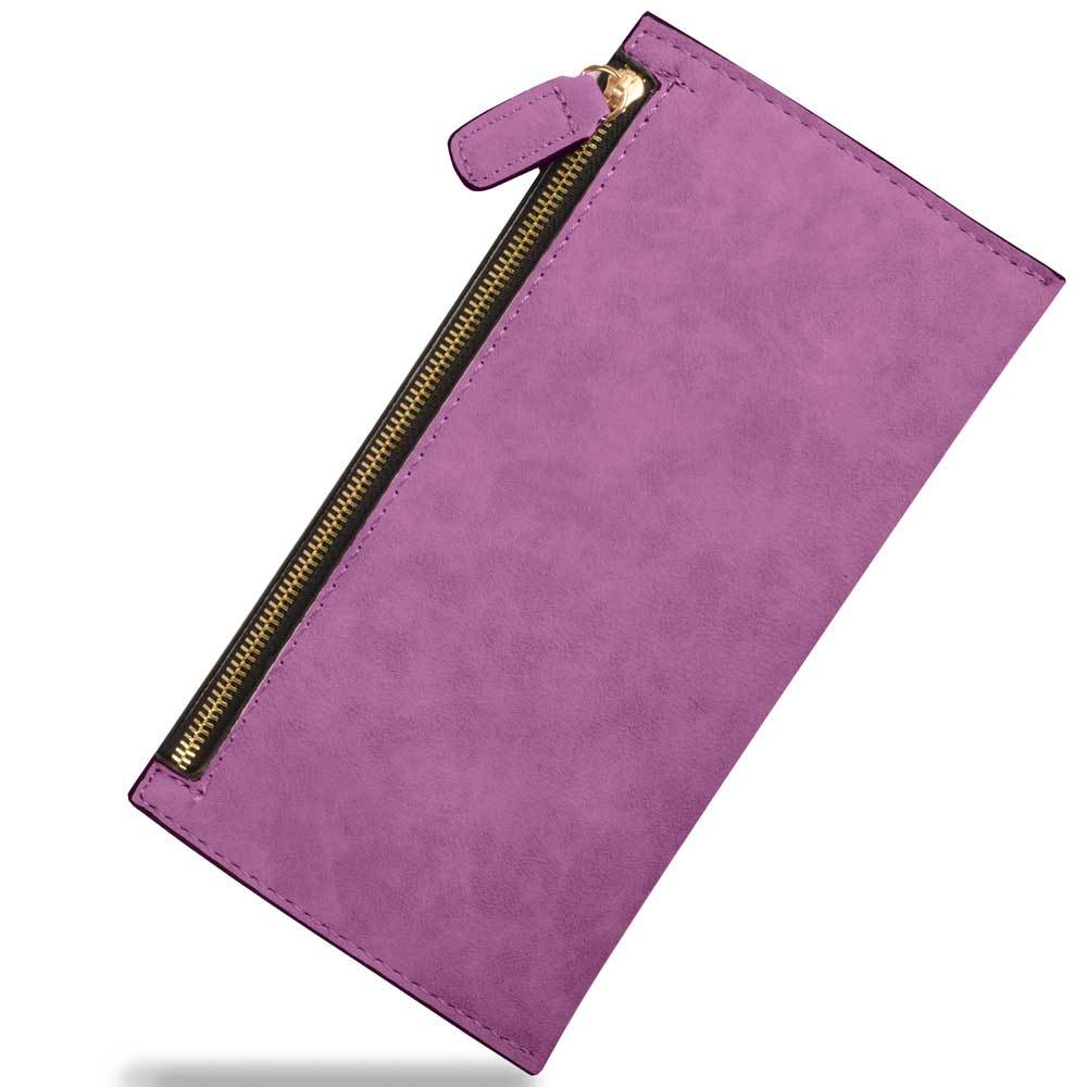 Women's Sturdy PU Leather Zipper Clutch Bag Hand Bag Sunshine China Purple