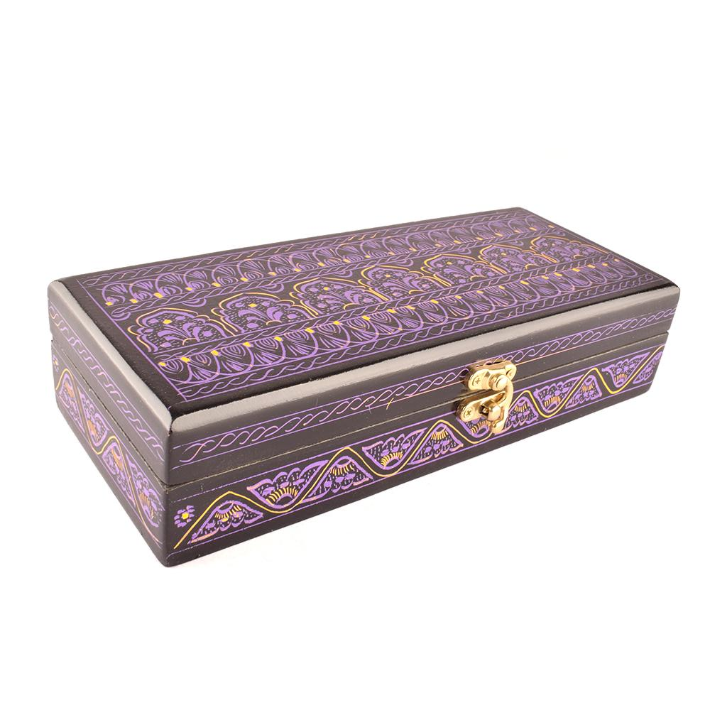 Decorous Rectangular Shaped One Piece Jewelry Box Jewellery SAK Purple