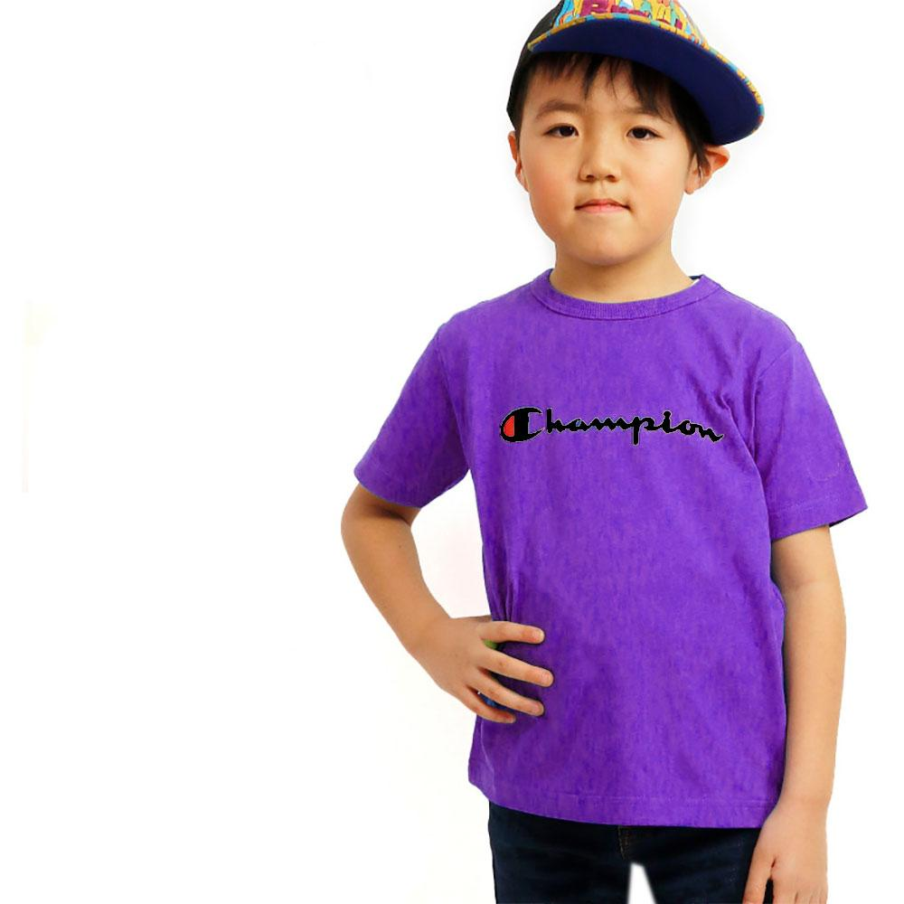 Boy's Champion Crew Neck Tee Shirt Boy's Tee Shirt Fiza Purple XS