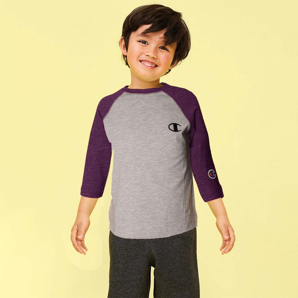 Kid's Champion Long Sleeves Tee Shirt Boy's Tee Shirt Fiza Heather Grey Purple 6 Months