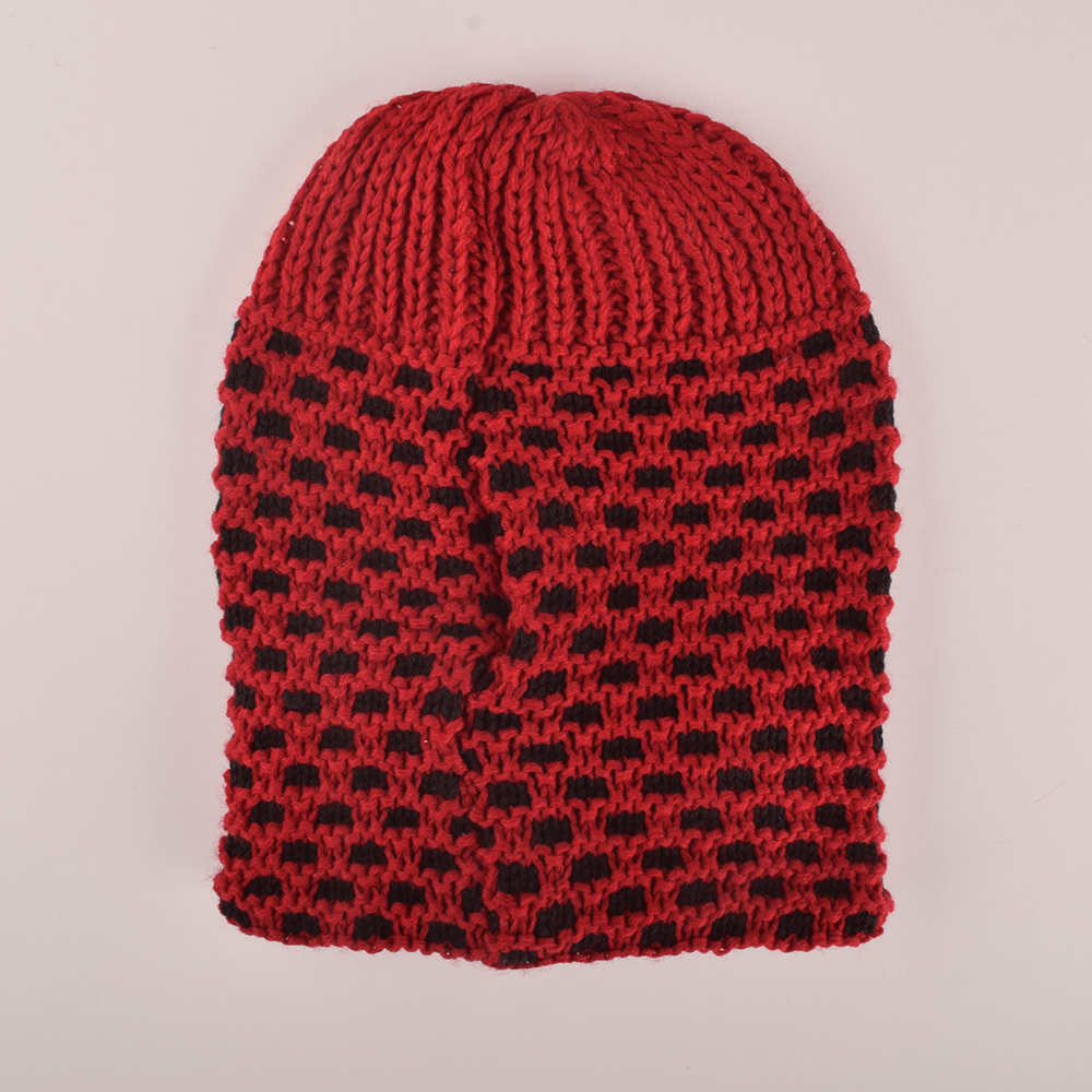 MB Sleek Doted Style Winter Knitted Beanie Cap Unisex Beanie MB Traders Red