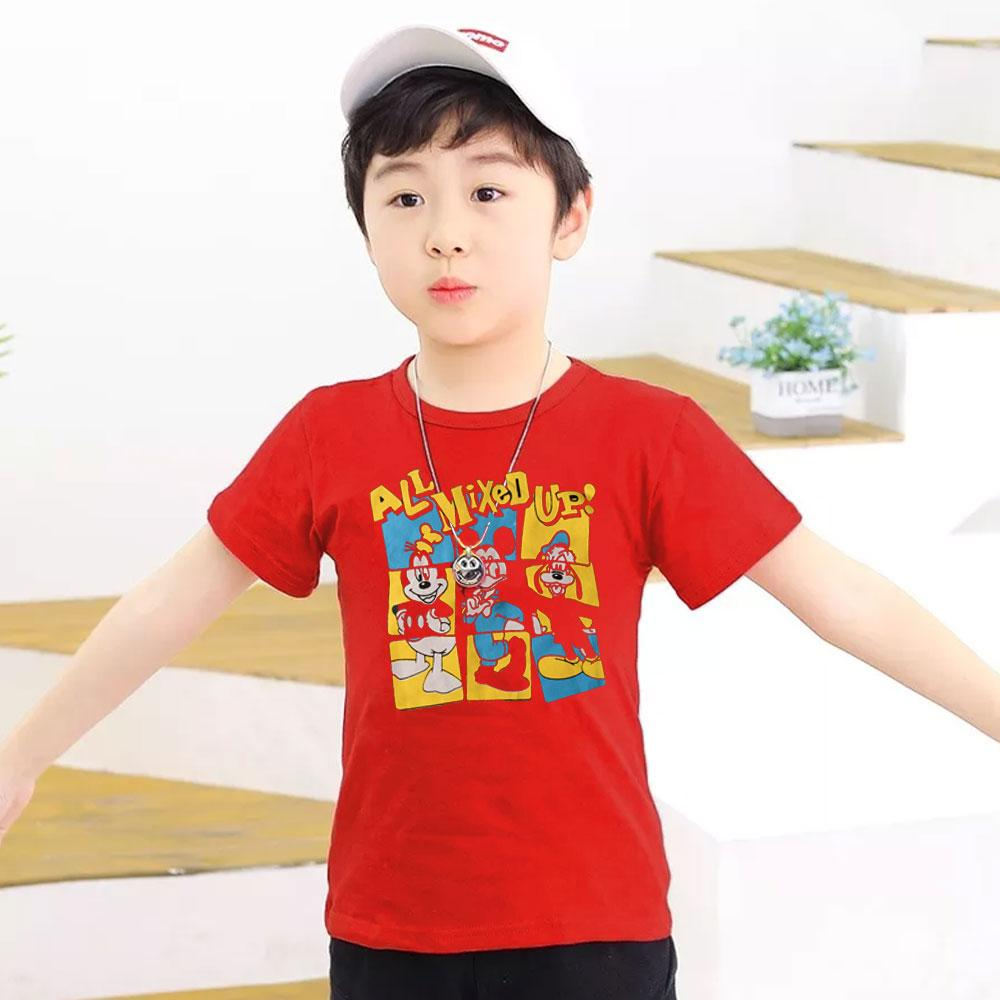 Kid's Classy Printed Tee Shirt Mixed Up Boy's Tee Shirt SRK Red 9-12 Months