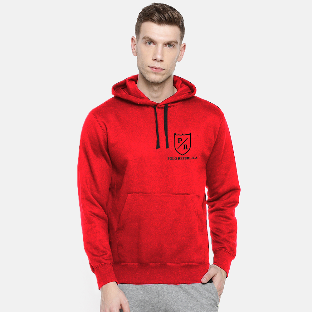 Polo Republica Men's Solid Fleece Pullover Hoodie Men's Pullover Hoodie ASE Red S