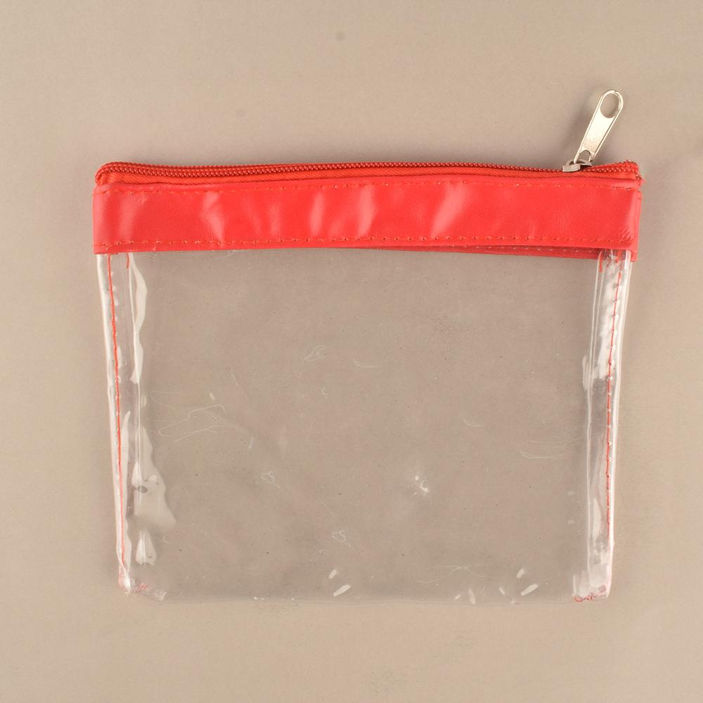 ANF Transparent Travel Pouch With Zip Storage Bag ANF Red