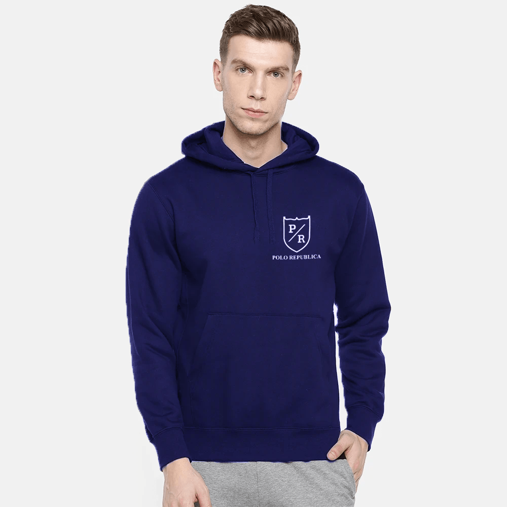 Polo Republica Men's Solid Fleece Pullover Hoodie Men's Pullover Hoodie ASE Royal S