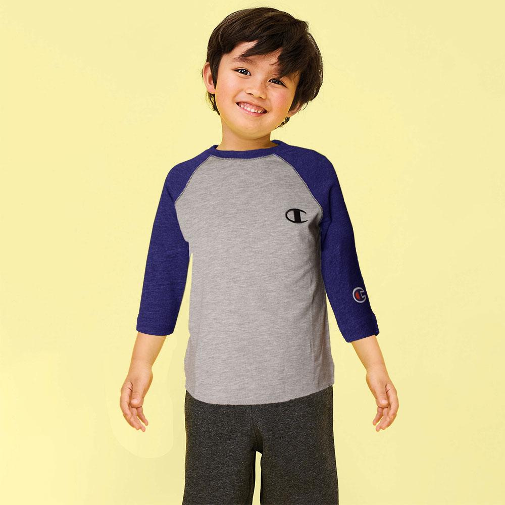 Kid's Champion Long Sleeves Tee Shirt Boy's Tee Shirt Fiza Heather Grey Royal Blue 6 Months