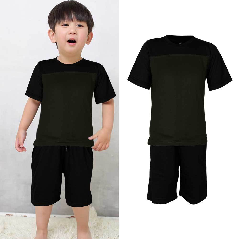 Kids Contrast 2 Pcs Summer Suit Boy's Suit Set UMAR TRADERS Black Dark Olive 3-4 Years