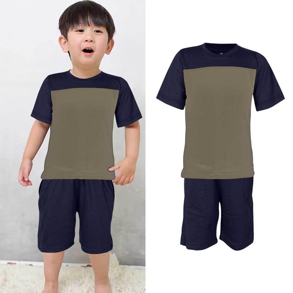 Kids Contrast 2 Pcs Summer Suit Boy's Suit Set UMAR TRADERS Navy Mud 3-4 Years