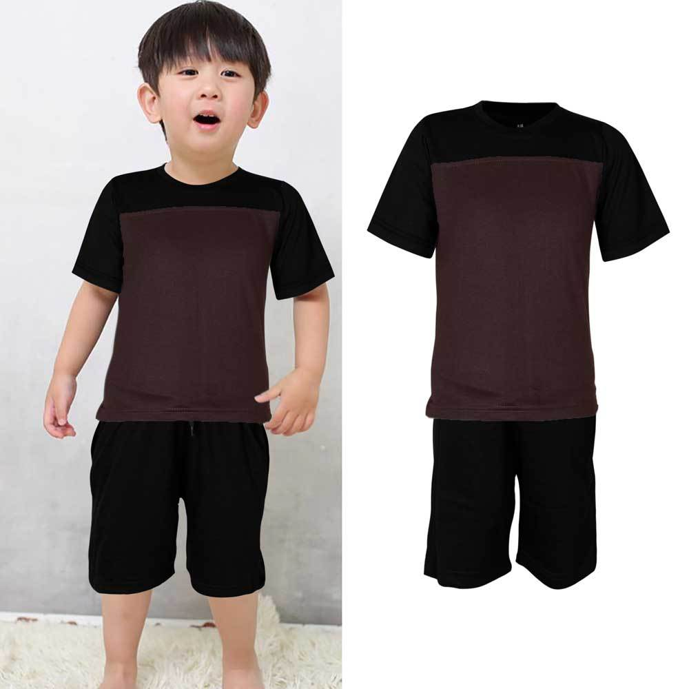 Kids Contrast 2 Pcs Summer Suit Boy's Suit Set UMAR TRADERS Black Dark Grey 3-4 Years