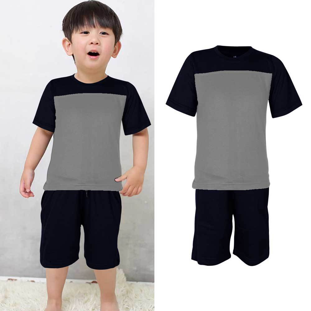 Kids Contrast 2 Pcs Summer Suit Boy's Suit Set UMAR TRADERS Navy Heather Grey 3-4 years