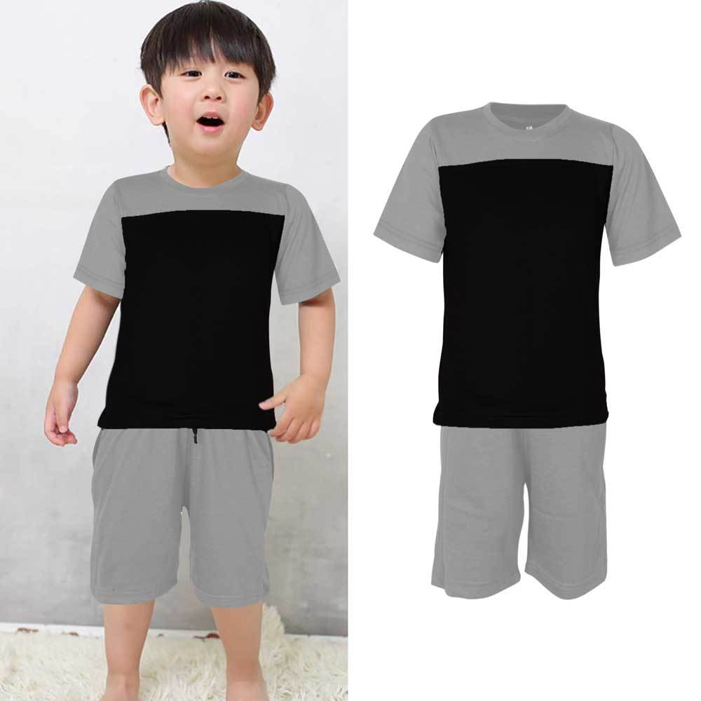 Kids Contrast 2 Pcs Summer Suit Boy's Suit Set UMAR TRADERS Heather Grey Black 3-4 Years