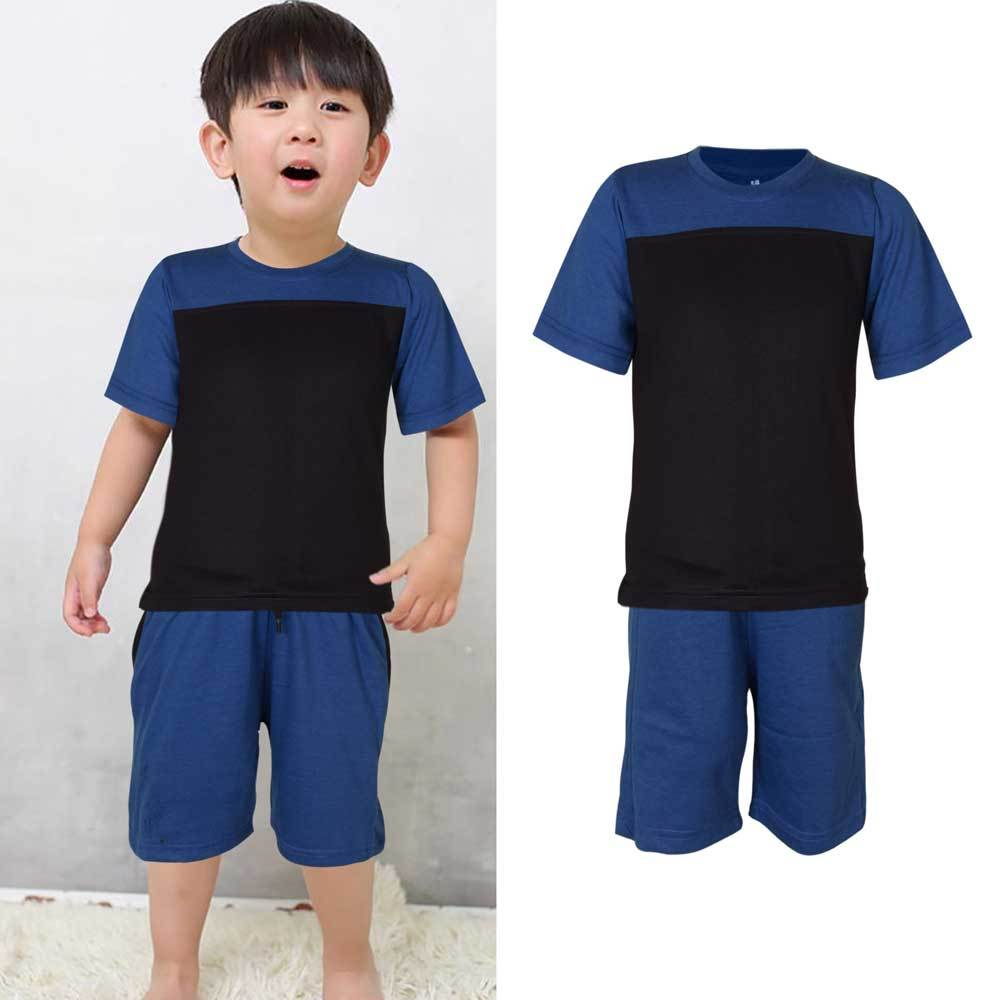 Kids Contrast 2 Pcs Summer Suit Boy's Suit Set UMAR TRADERS Royal Blue Navy 3-4 Years