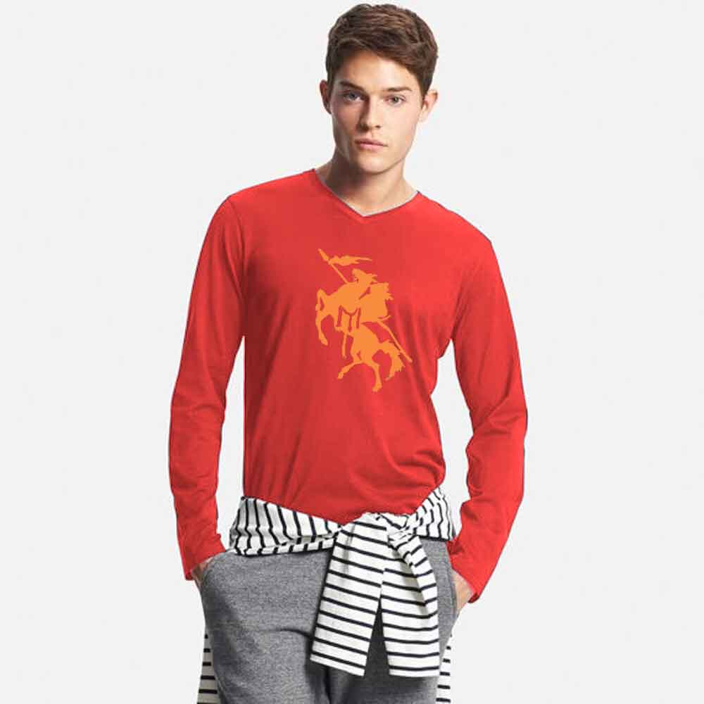 Men's Long Sleeve V-Neck Printed Tee Shirt Knight Men's Tee Shirt Image Red & Yellow S