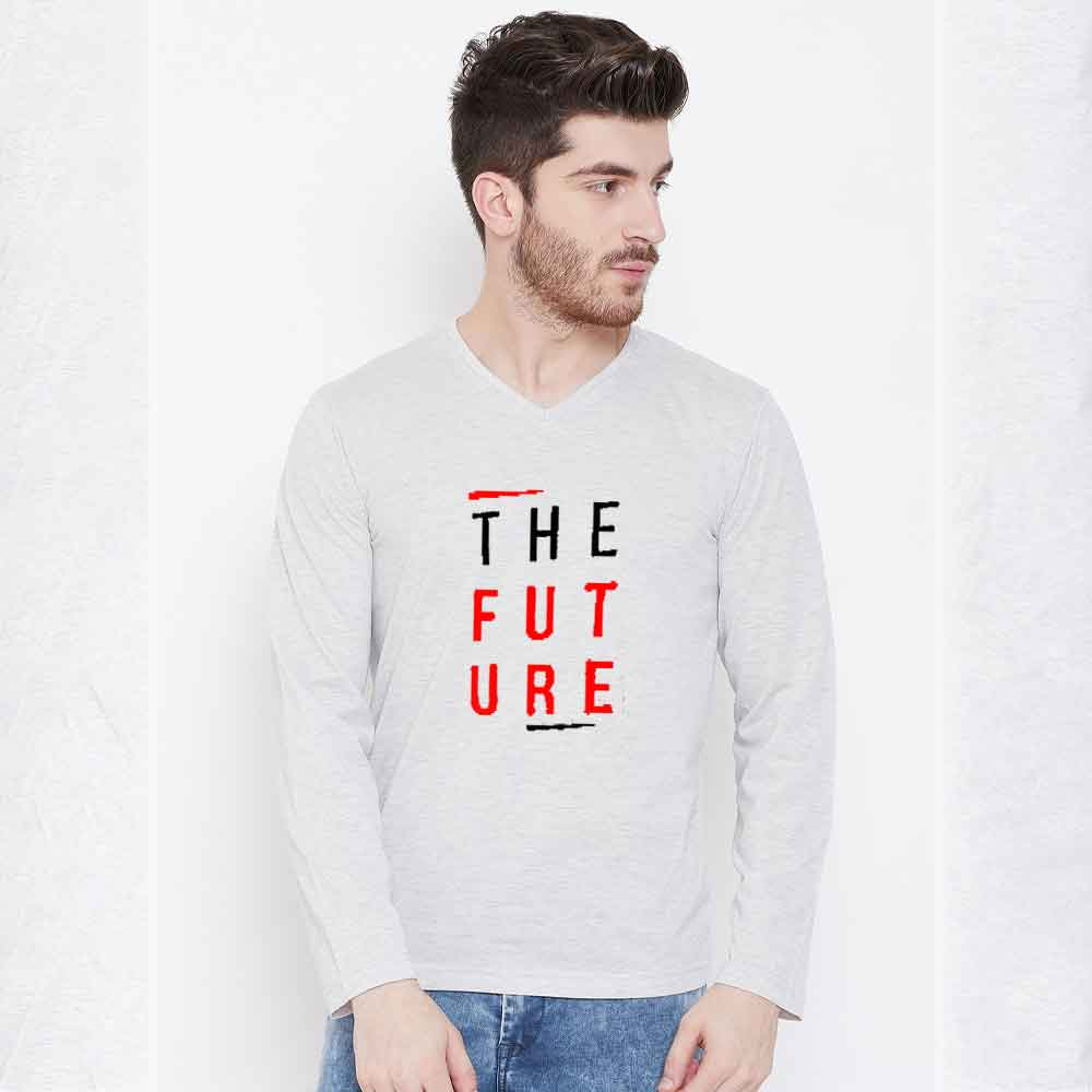 The Future Long Sleeve Crew Neck Tee Shirt Men's Tee Shirt Image Heather Grey & Red S