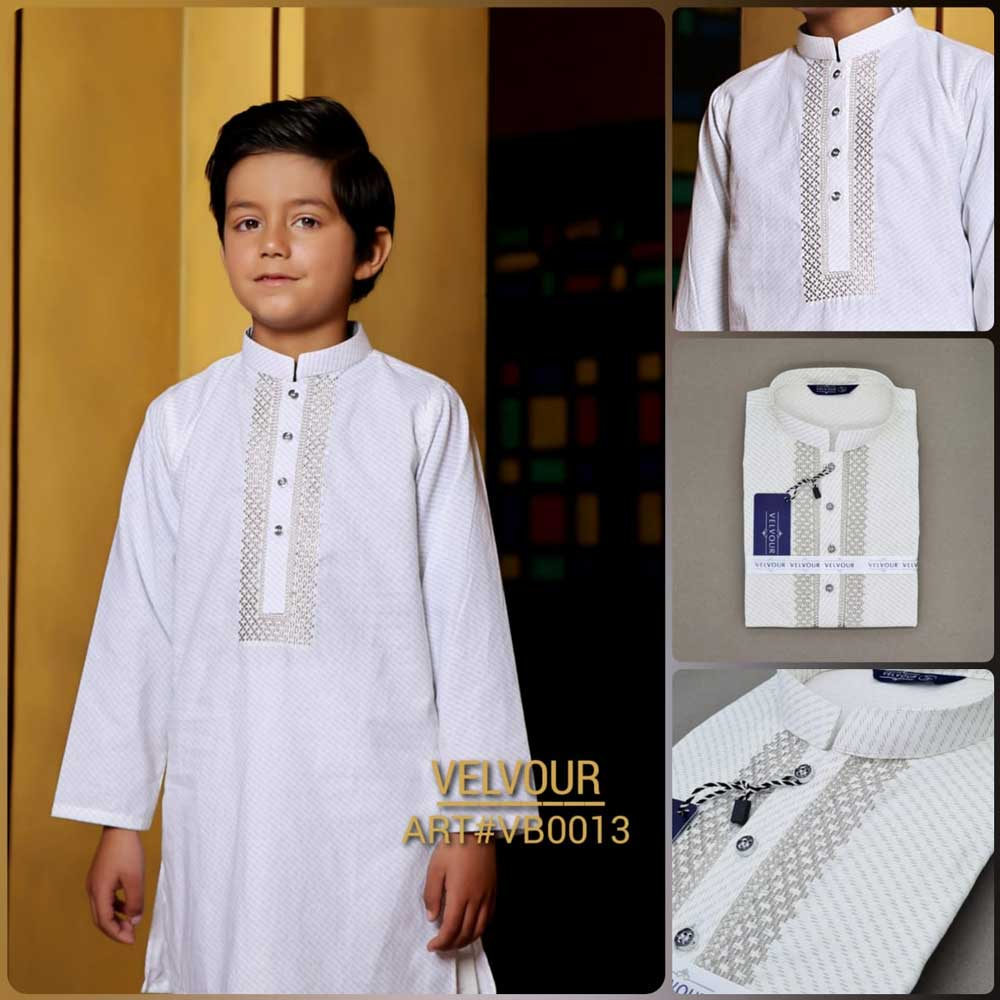 Velvour Boy's VB0013 Embroidered Stitched Kurta Boy's Kurta YTC