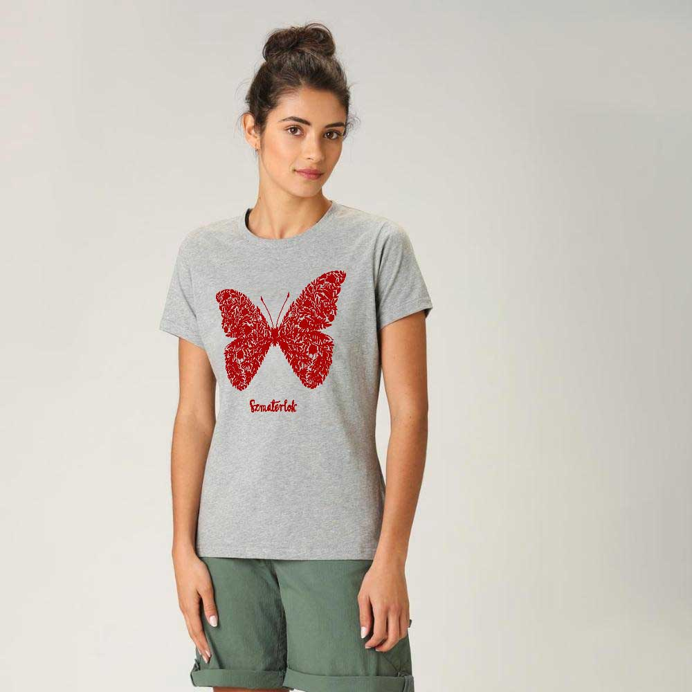 Women's Butterfly Crew Neck Tee Shirt Women's Tee Shirt Image Heather Grey & Red XS