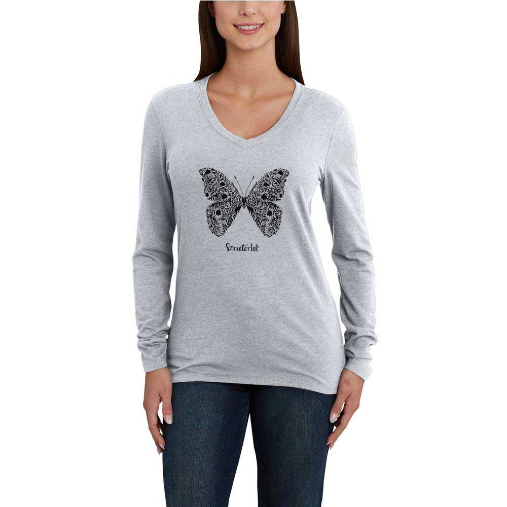 BYD Women's Butterfly V-Neck Tee Shirt Women's Tee Shirt Image Heather Grey XS