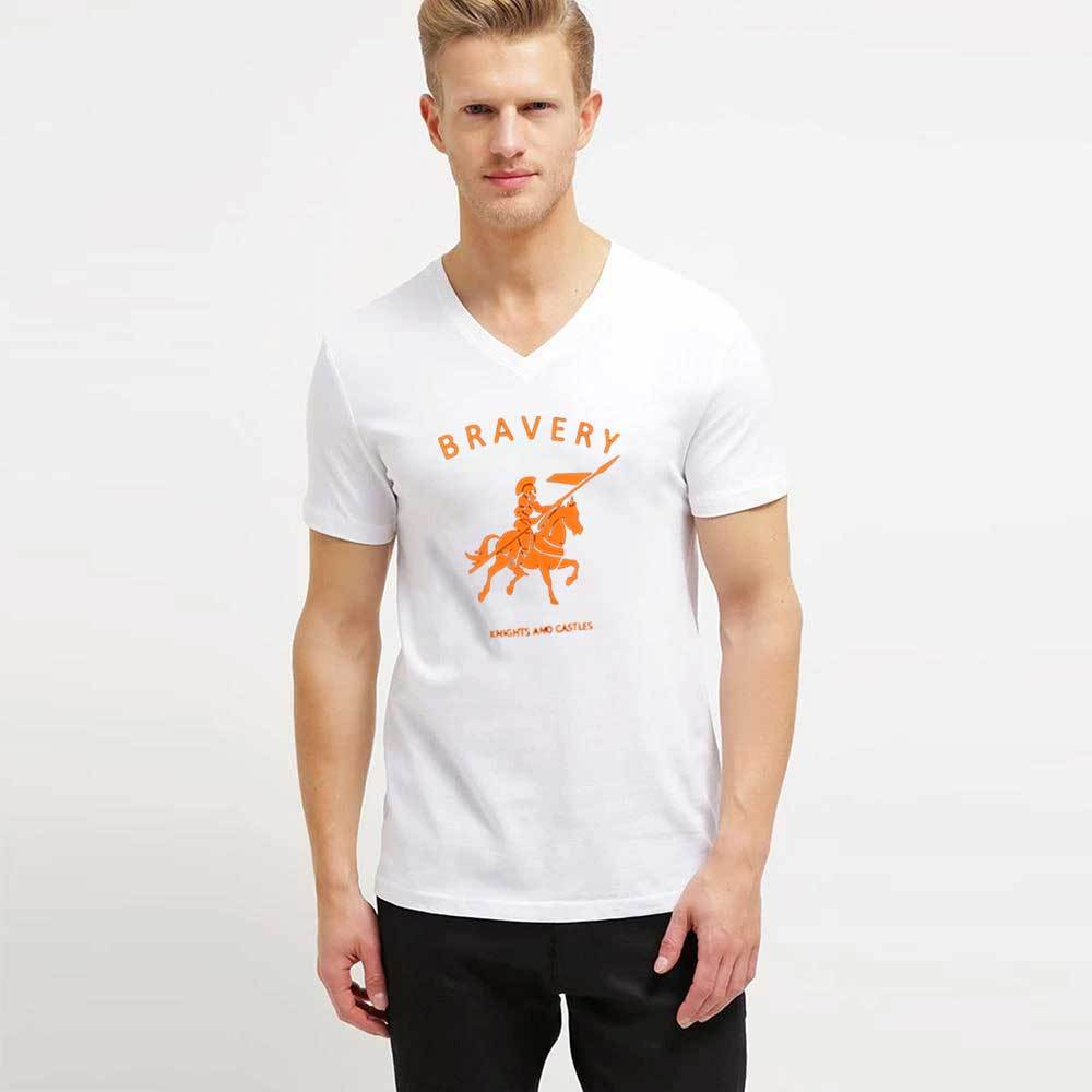 LE Bravery V-Neck Short Sleeves Tee Shirt Men's Tee Shirt Image White XS