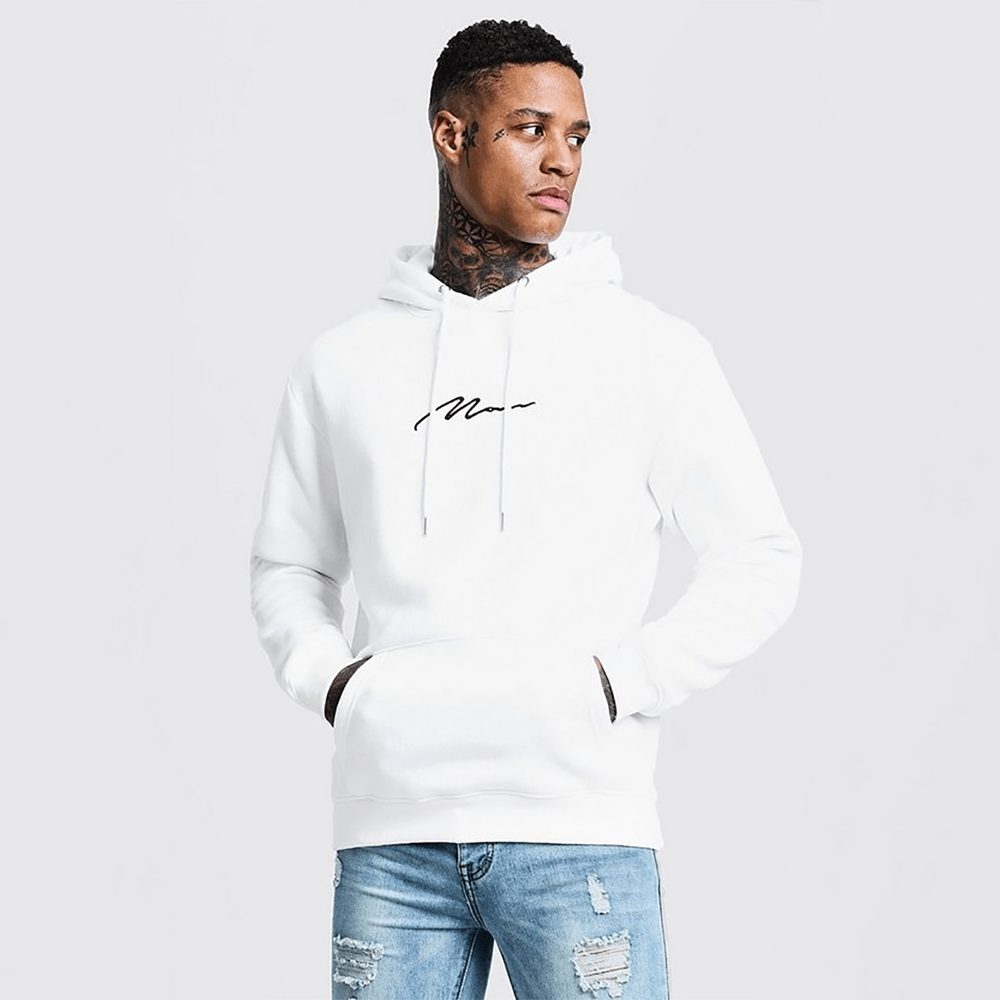 BHM Men's Man Signature Embroidered Hoodie Men's Pullover Hoodie SRK White S