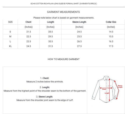 Echo Wide Lining Long Sleeve Formal Shirt Men's Formal Shirts YRA