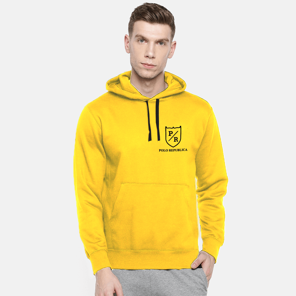 Polo Republica Men's Solid Fleece Pullover Hoodie Men's Pullover Hoodie ASE Sunny Yellow S