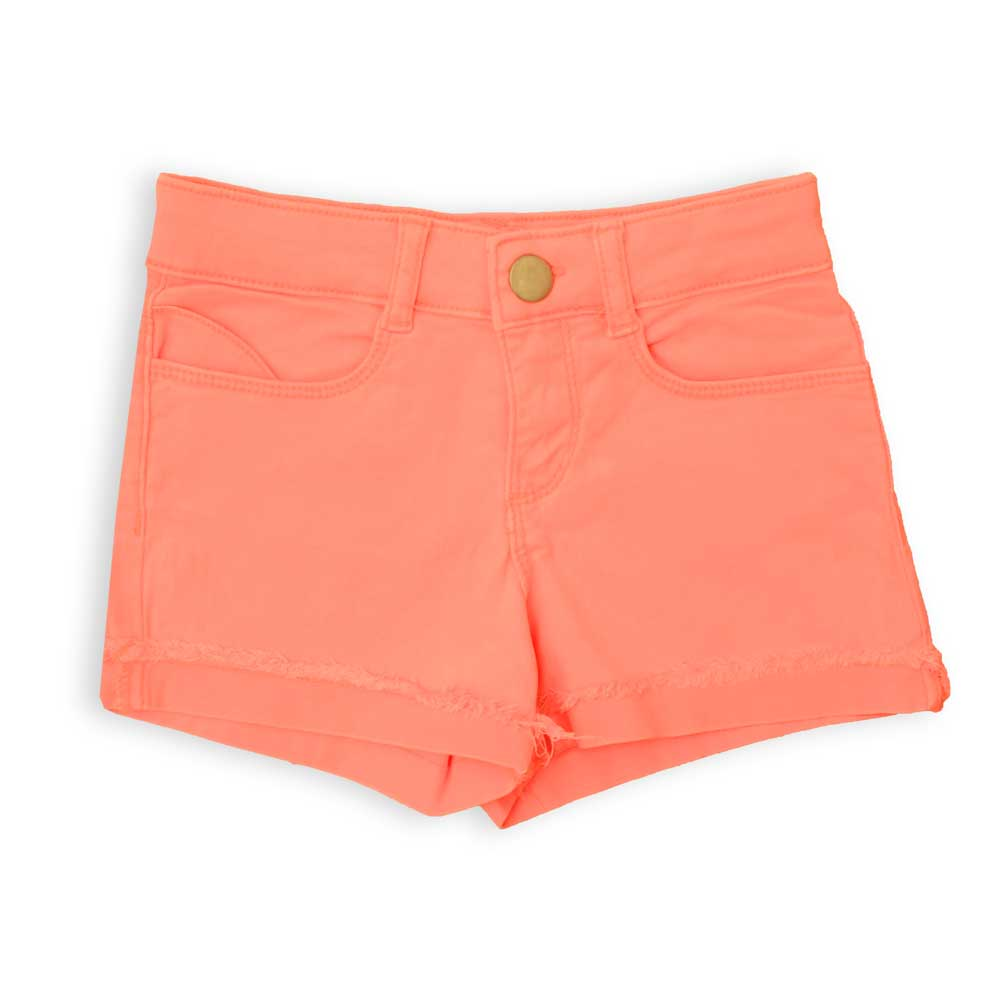Her Denim Girl's Solid Color Ruffling Shorts Girl's Shorts SRK Bright Peach 3 Years